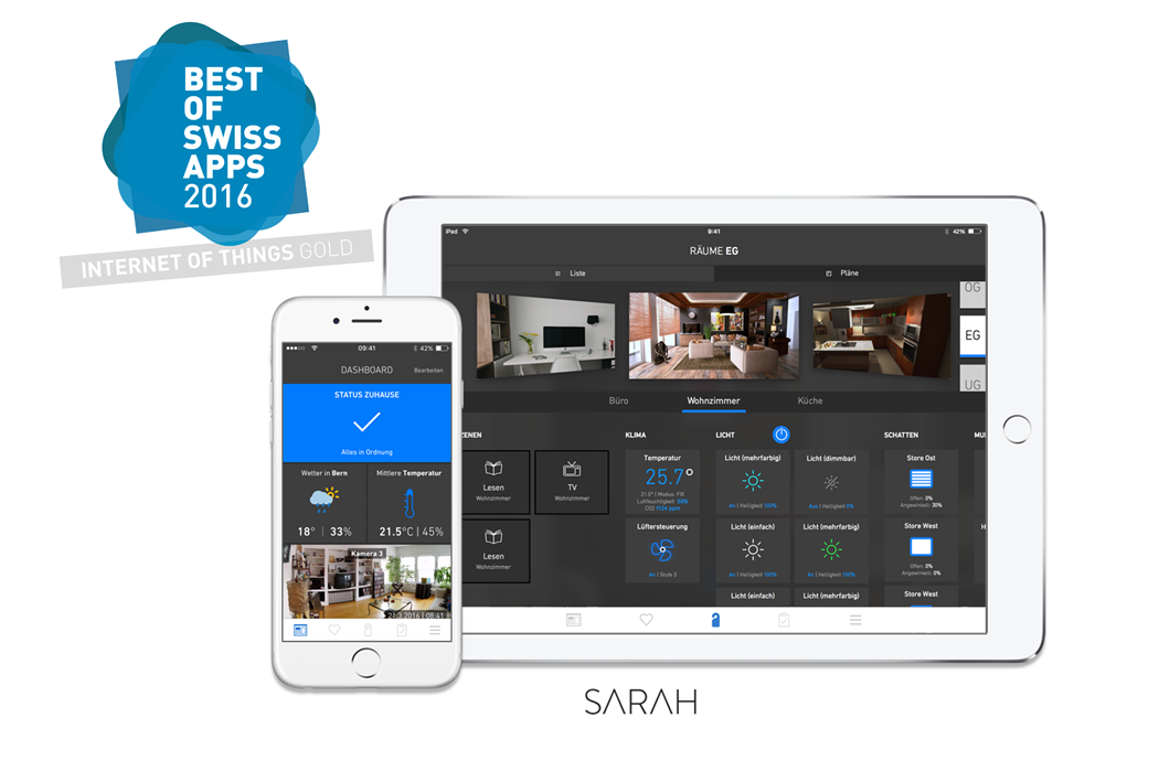 sarah internet of things best of swiss app winner Bauen und Wohnen